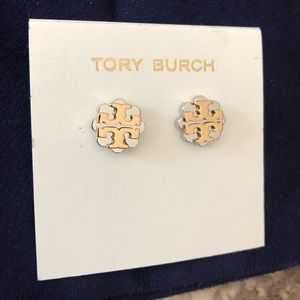 Tory Burch logo earrings. Silver and gold.